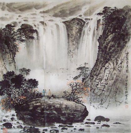 包信源-云岭飞瀑图